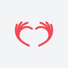 Simple Love Hand logo designs vector, caring logo template