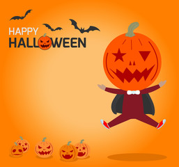 Happy Halloween Poster Party and theme design background, Group of child in Halloween costume jumping, Happy Halloween,Template for advertising brochure,your text, Vector Illustration