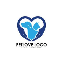 pet love logo design template. pet care vector icon