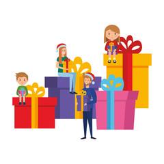 parents couple with kids christmas celebration