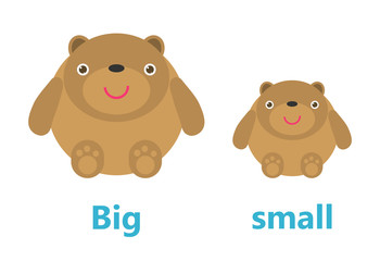 Opposite big and small, Opposite English Words big and small on white background,teddy bear illustration vector