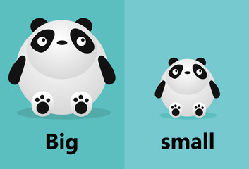 Opposite big and small, Opposite English Words big and small on white background,panda illustration vector