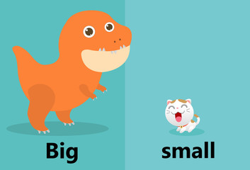 Opposite big and small illustration vector, Opposite English Words big and small on white background,