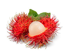 Rambutan isolated on white with clipping path