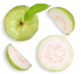 Top view Guava fruit isolated on white clipping path
