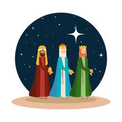wise kings manger on desert night scene