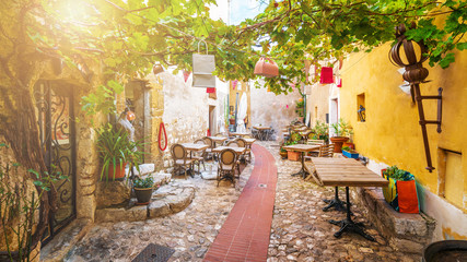 Street in medieval Eze village at french Riviera coast, Cote d'Azur, France