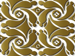 Seamless relief sculpture decoration retro pattern gold spiral vortex cross geometry flower