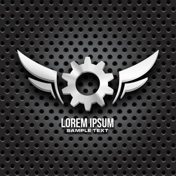 metal gears wings icon design