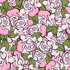 Painted graphic pattern with roses.