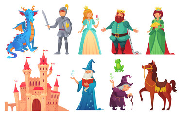 Fairy tales characters. Fantasy knight and dragon, prince and princess, magic world queen and king isolated cartoon vector set