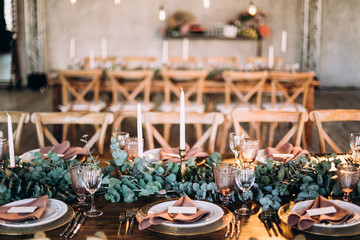 Wedding table decoration rustic style