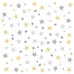 Christmas stars dots pattern scribble drawing isolated background