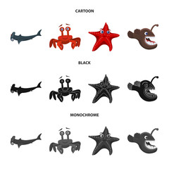 Vector illustration of sea and animal sign. Collection of sea and marine stock symbol for web.