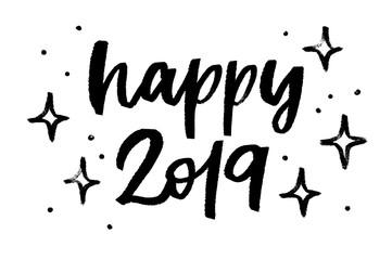 Happy 2019, handwritten phrase. Modern brush calligraphy.