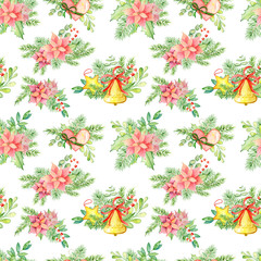 Christmas and New Year  watercolor seamless pattern