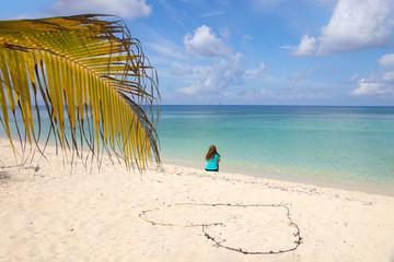 Lady on the caribbean beach, beautiful view, heart,  Cozumel