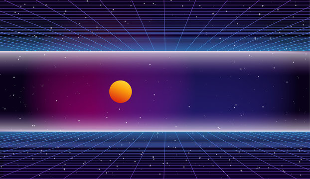 Retro futuristic background 1980s style. 80s retro sci-fi background. Bright abstract retro background made in 80s style. Digital landscape in a cyber world with neon grids in vintage style. Space