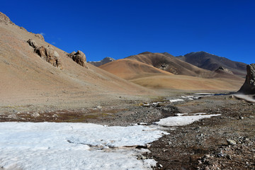 Summer in the mountains of Tibet above 5000 meters