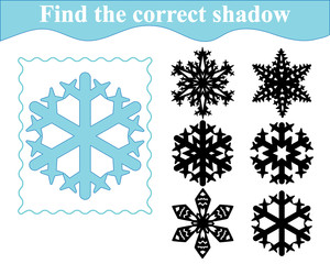 Educational game for preschool children. Find the silhouette of snowflake. Vector illustration.