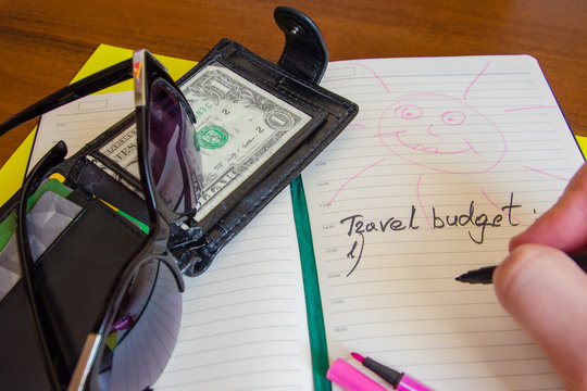 Preparing for the trip. budget for travel. List and money.
