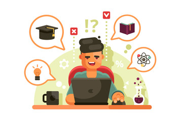 Man studying with laptop. Online education concept