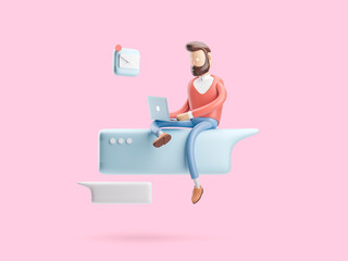 3d illustration. the guy is on the internet. social media concept