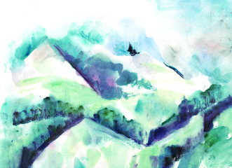 A watercolour landscape painting of a view over snowy mountains, with copy space