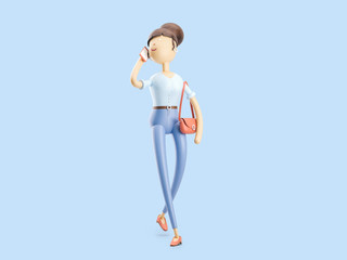 3d illustration. The girl is talking on the phone on the go