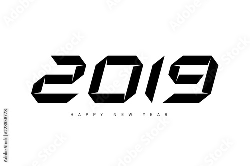 happy new year 2019 minimalistic vector illustration for cover of calendar or diary