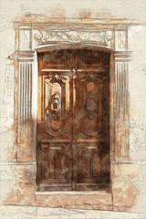 Old door engraving