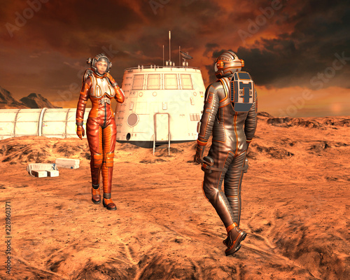 Man and woman astronaut on Planet Mars surface  3D rendering