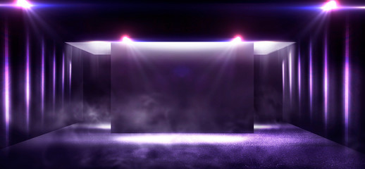Background of an empty corridor with brick walls in blue and neon light. Brick walls, neon rays and glow, smoke. Blue abstract background.
