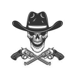 Cowboy skull with crossed revolvers. Design element for poster, card, label, sign, card, banner.