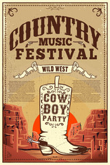 Country music festival poster. Party flyer with cowboy boots. Design element for poster, card, label, sign, card, banner.