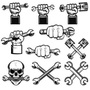Set of hand with working tools, wrenches. Mechanic on duty. Design element for logo, label, emblem, sign, poster. .
