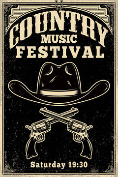 Country music festival poster template. Cowboy hat with crossed revolvers. Wild West theme. Design element for poster, card, banner, flyer.