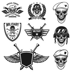 Set of military emblems with paratrooper skull. Design element for poster, card, label, sign, card, banner.