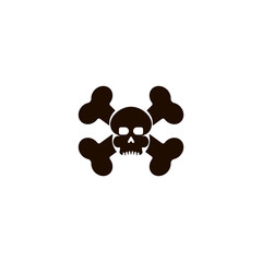 Skull with bones Icon. flat design