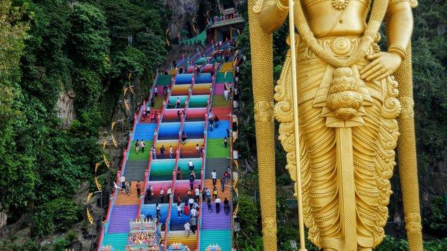 colorful rainbow stairs of batu caves