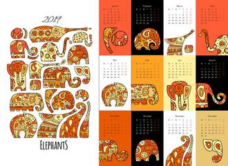 Ornate elephants. Calendar 2019