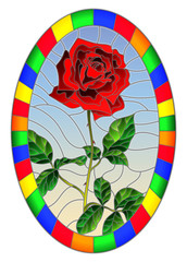 Illustration in stained glass style flower of red rose on a sky background in a bright frame,oval  image