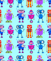 cute robots on white background