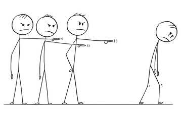 Cartoon stick drawing conceptual illustration of team of businessmen or coworkers or colleagues blaming one of them and forcing him to leave.