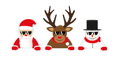 cute reindeer santa claus and snowman cartoon with sunglasses for christmas