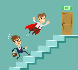 Super businessman in red cape flying pass another businessman climbing stairs. Business competition concept. Stock flat vector illustration.
