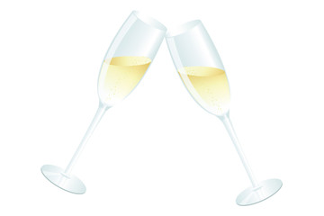 two glasses with champagne toast