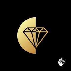 Diamond logo template. Diamond in a semi circle of gold color on black background. Vector illustration.
