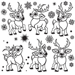 set of reindeer . Cartoon collection of funny Christmas tiny caribou deer in different poses .Black and white outline vector  illustrations for babies and little kids