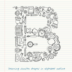 Set of hand drawn kid learning doodles shaped in alphabet : Vector Illustration